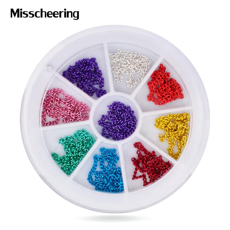 9colors Nail Art Metal Chain Striping Line Tiny Nail Tips DIY Beauty Glitter Nail Accessories(China (Mainland))