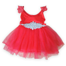 New 2015 summer  lace  girls  dresses  with Rhinestone  toddler girls princess dress as Christmas Gift  for 0-6 years