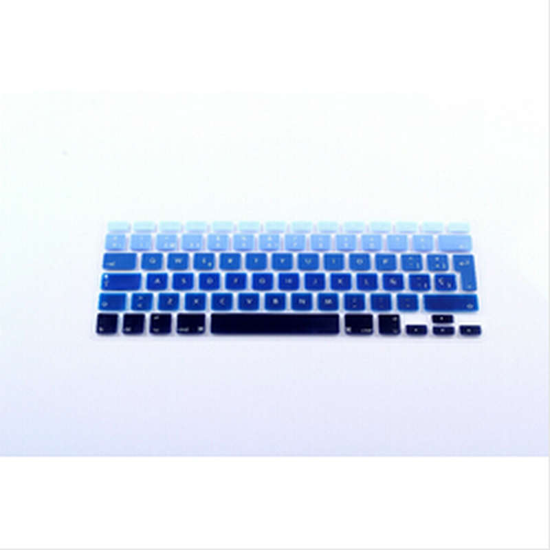 Gradient Blue Rainbow Spanish UK EU Silicone KeyboardX15 font b Cover b font Skin Protector For