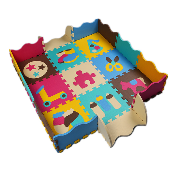 30*30*1CM Baby Crawling Mat Patchwork Fruit Letters Puzzle 1CM Thick EVA Foam Playing Mats With Eco-friendly Fence Kids Toys(China (Mainland))