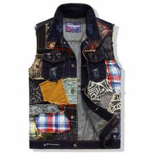 Fashion 2016 Brand New Autumn Winter Men Denim Vest Patchwork Pocket Jeans Vest Casual Sleeveless Jacket Plus Size L XL XXL(China (Mainland))