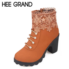 2016 Fashion Women Boots PU Leather Round Toe Ankle Boots Sexy Lace Ladies High Heels Platform Shoes Woman Size 35-40 XWX2967(China (Mainland))
