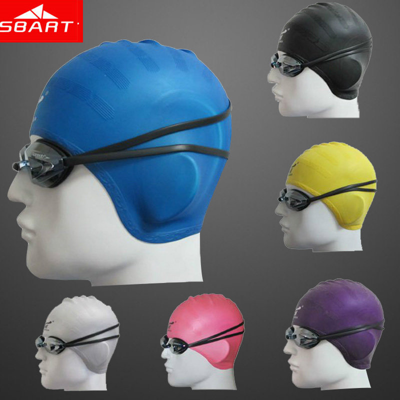 SBART 100% Silicone Swimming Cap Long Hair Waterproof Adult Swim Caps With Ear Protection High Quality Ladies Women Swim Hat I(China (Mainland))
