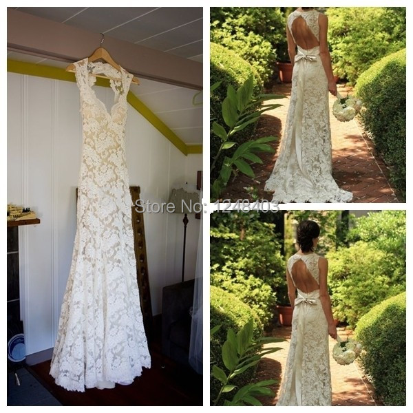 A-Line Floor-Length Court Train Wedding Dresses V-Neck Neck Open Back Lace Custom Made 2015 - Dream blue wedding dresses store