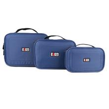 BUBM 3 Pics/Set Blue Functional Home Helper Fashion Electronics Cable Travel  Insert Organizer Cosmetic Makeup Portable Handbag