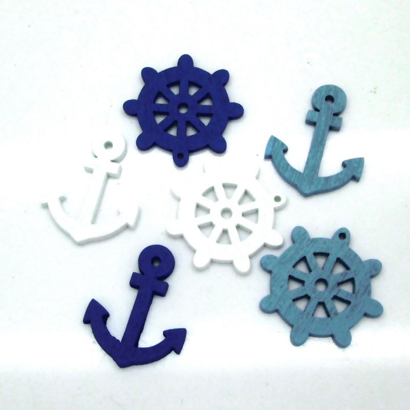 2 Holes Mixed Wooden Button Sea steering wheels anchors pattern Scrapbook Craft Buttons Mix 50pcs Garment Botoes Accessories(China (Mainland))