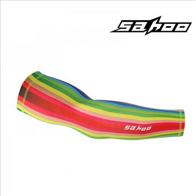 Hot SAHOO 2015 Bicycle Sleevelet Rainbow Golf Sports cuff Arm Warmers Sun/UV Protection Cycling Sports Sleeve Cooling Arm Cuff(China (Mainland))