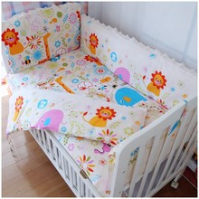 Promotion! 6PCS Baby bedding sets cot set crib bumper bed sheet baby care cartoon sets (bumpers+sheet+pillow cover)