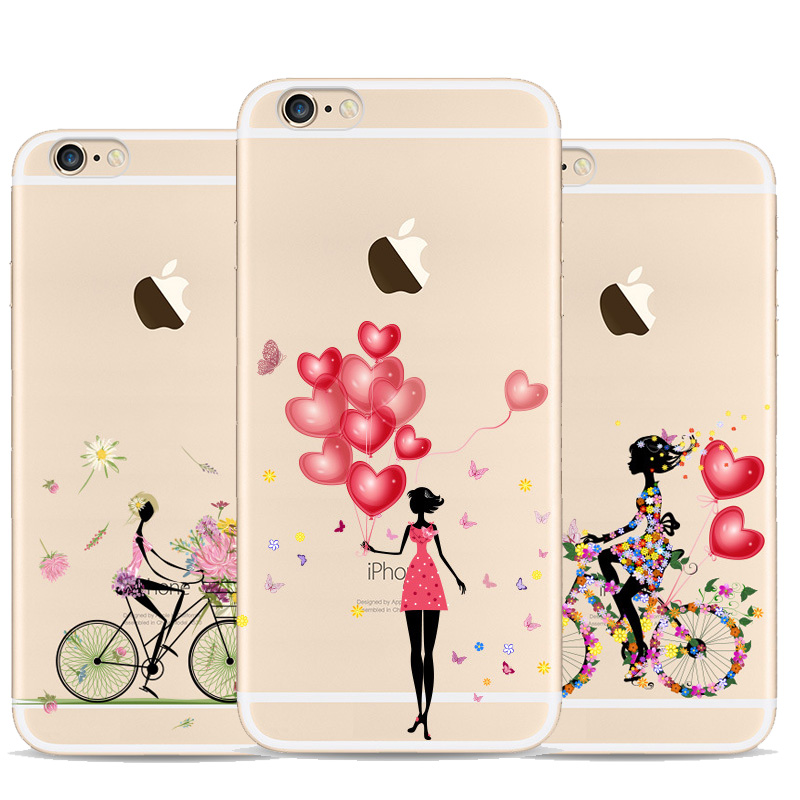 Bicycle Balloon Girl Coque For Iphone 6 Case Soft Rubber Silicone Phone Case For Apple Iphone 6s Transparent Cover(China (Mainland))