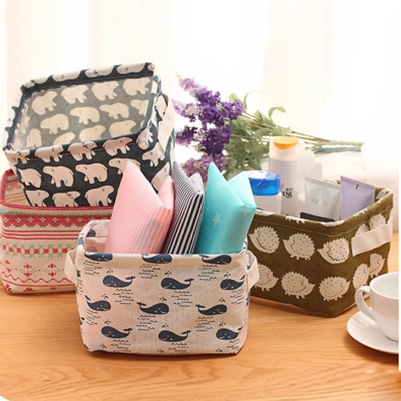 2016 New High Quality Linen Printing Desktop Storage Basket Small Cabinet Basket Home / Office / Bedroom Essential Storage Box(China (Mainland))