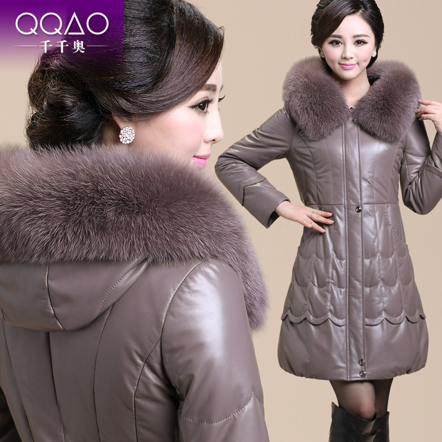 Free Shipping 2013 Winter Slim Women's Hooded Genuine Leather Down Coat Female Ultra Long Fox Fur Clothing Lady Plus Size S-5XL