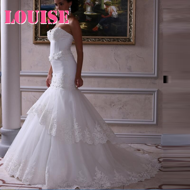 Charming Model Strapless Tiered Lace Mermaid Wedding Dresses Custom Made 2016(China (Mainland))