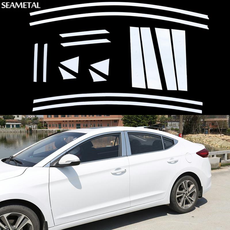 Фотография Car Chrome Window Trim Middle Pillar Decoration Strips Stainless Steel Styling For Hyundai Elantra AD 2016 2017 Auto Accessories