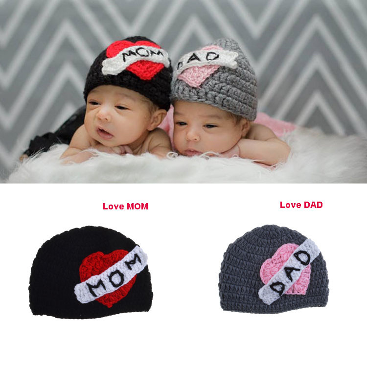 LOVE MOM LOVE DAD Crochet Twins Hat for Baby Newborn Infant Crochet Knitted Winter Hat Caps Kids Headwear Winter 1pc MZS-15052(China (Mainland))
