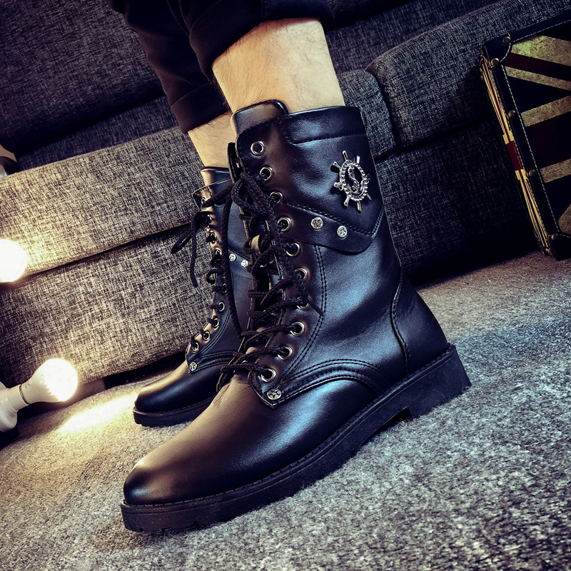 2016 mens leather boots botas australianas Zip PU brand lace upmotorcycle bota militares hombre zapatos hombre shop cheap shoes(China (Mainland))
