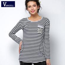 2016 футболка femme Весной длинным рукавом футболки женщин т рубашка женщин топы мода poleras де mujer полоса футболка camisetas mujer(China (Mainland))