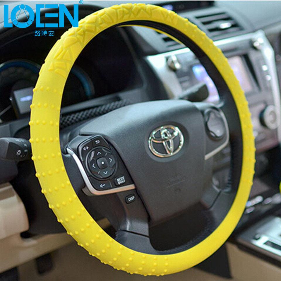 Universal Skid Soft Stretch Silicone Steering Wheel Cover Auto Supplies For Honda Kia Lada Granta GOLF Mazda Toyota Lexus(China (Mainland))