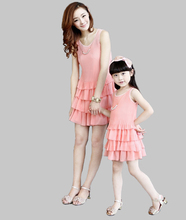 Family Matching Clothes  Mommy and Me Summer New Pleated Chiffon Sleeveless Dress Children Girls Party Crushed Cake Clothes