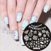 New Stamping Plate hehe55 Lovely Cartoon Children Candy Cake Party Element Nail Art Stamp Template Image Transfer Stamp