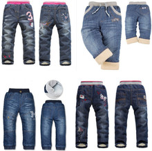 Brand children's clothing spring and winter thick trousers children boys and girls thick winter plus velvet jeans pants(China (Mainland))