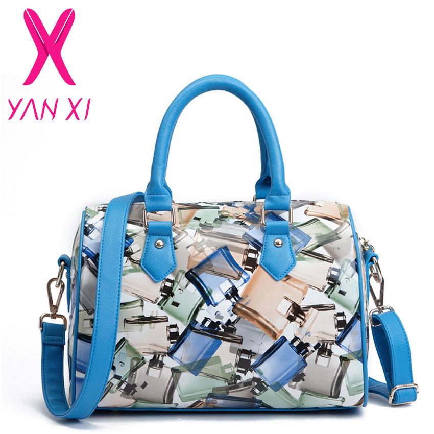 HOT Selling Fashion Party Women Handbag Perfume bottles pattern Pillow pack High Quality PU Brands Messenger Bag(China (Mainland))