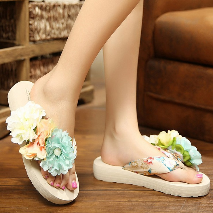Flower Bohemia Women's Flip Flops Flat Beach Sandals Platform Shoes 2016 New Summer Slippers Ladies Shoes