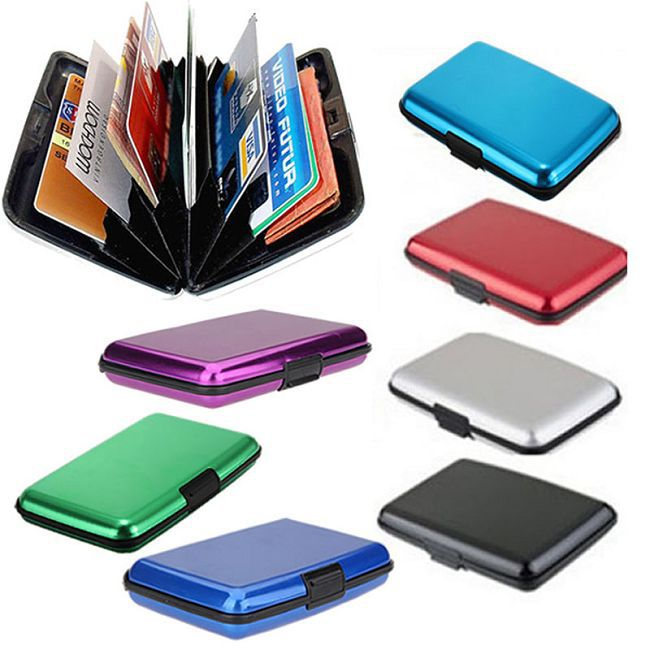 Pocket Waterproof Business ID Credit Card Wallet Holder Aluminum Metal Case Glossy Box # 57345(China (Mainland))