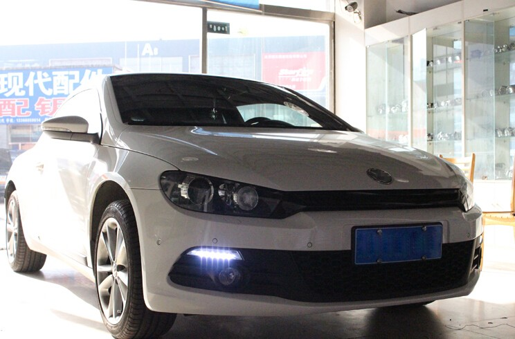 A&T car styling For VW Scirocco LED DRL For Scirocco High brightness guide LED DRL led fog lamps daytime running light B style
