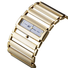 2015 Women Luxury Stainless Steel Watch, Ladies Wide Steel Band Gold Silver Bracelet Watch, Quartz Watches Japan Movt