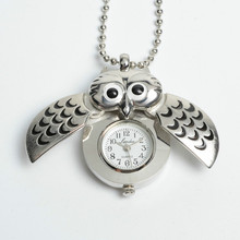 Unique Antique Fashion Alloy Vivid Owl Pocket Watch Pendent Necklace Chain Vintage Fob Watch Active Wings Clock(China (Mainland))