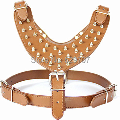 Fashion Spiked Large Dog Harness Personalized Pu Leather Harness For Pitbull Pet Supplies