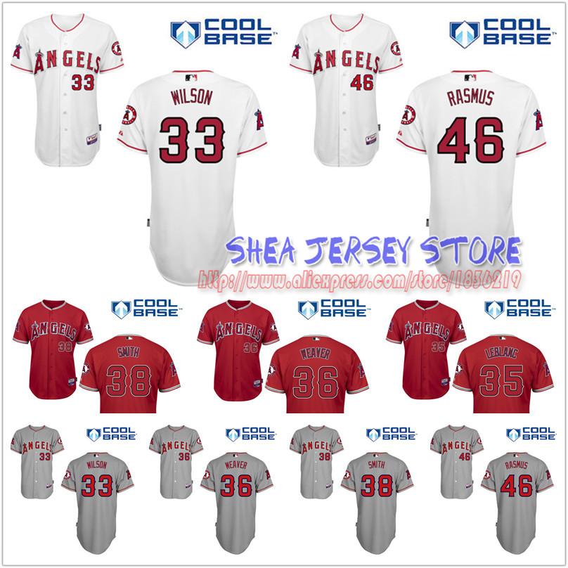 wade leblanc cj wison cory rasmus jered weaver joe smith Los Angeles Angels of Anaheim Jerseys Baseball Jersey<br><br>Aliexpress