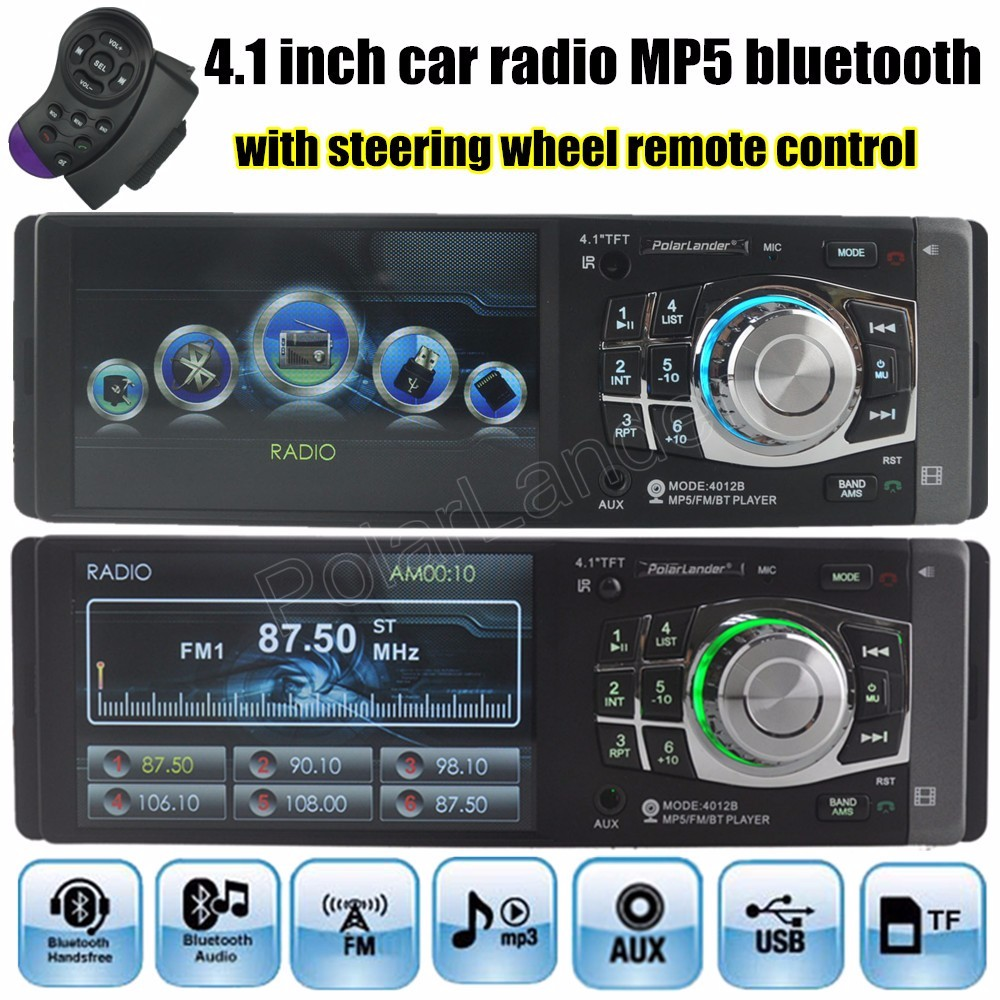 Car audio stereo MP5 MP4 Player Radio 4.1 inch Bluetooth for Rear camera  FM 1 din Auxin USB TF steering wheel remote control