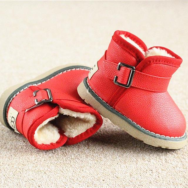 Зимние Теплые Сапоги ребенок/ребенок/девочка/мальчик Теплая Bootst противоскользящие подошва короткие сапоги непромокаемые кожаные хлопка-мягкая обувь