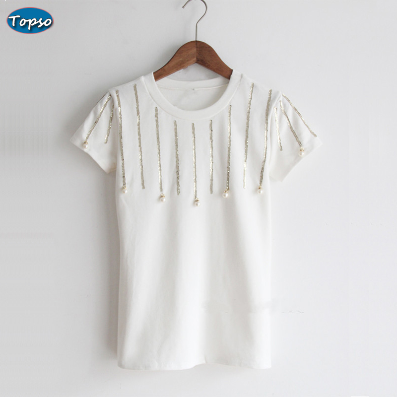 New Arrival Women Autumn Summer O-neck Sequined Beadings Short Sleeve Tee Shirt Candy Color Ladies Elegant Slim Tops T-shirt(China (Mainland))