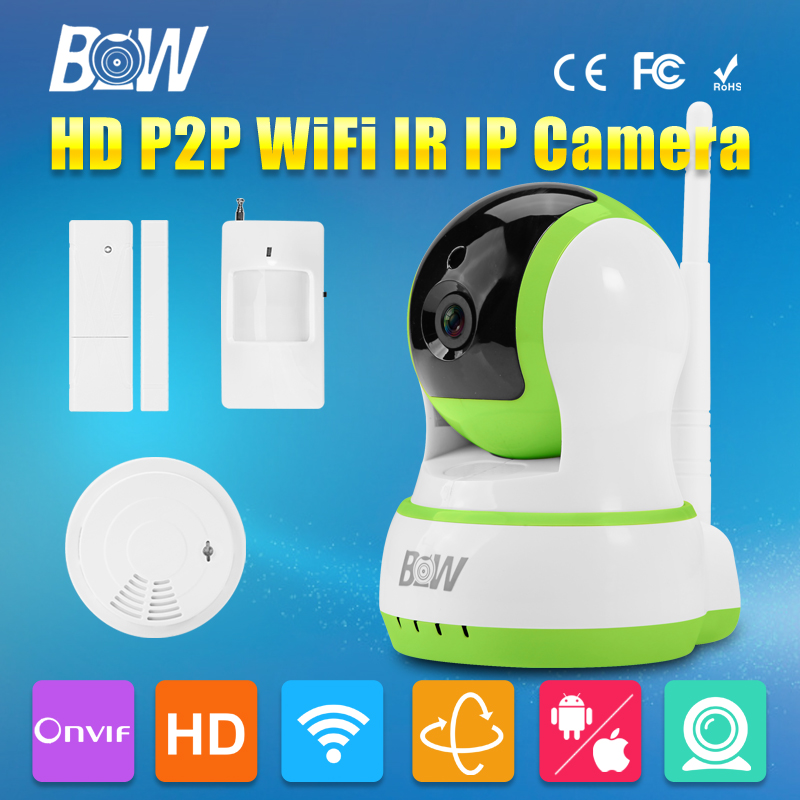 BW CCTV IP Camera Wireless Wifi P2P Video Surveillance 720P HD Security Camera + Door/Infrared Motion Sensor + Smoke Detector(China (Mainland))