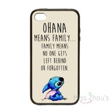For iphone 4/4s 5/5s 5c SE 6/6s plus ipod touch 4/5/6 skins mobile cellphone cases cover Ohana Means Family Lilo Stitch Inspired