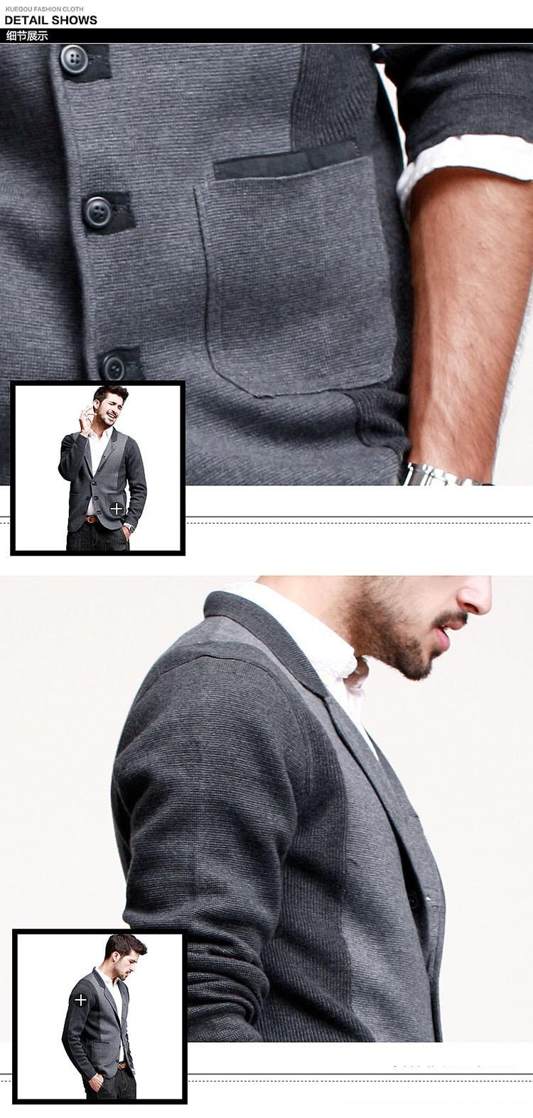 Человек вязание пиджаки, мужской моды тонкий блейзеры, однобортный пиджаки 88631
