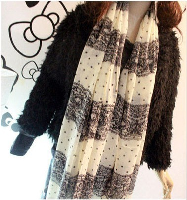 wholesale free shipping The trend of the sweet elegant lace  polka dot pattern long design silk shawl cashmere chiffon scarf