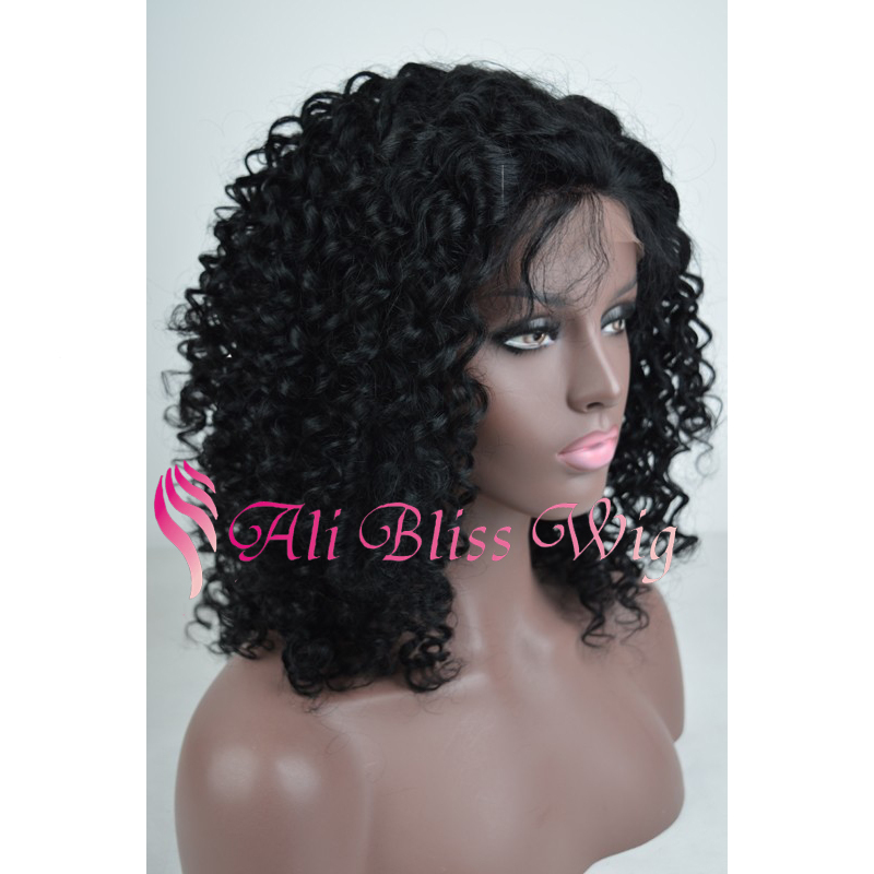 Virgin Brazilian Human Hair Lace Front Afro Kinky Curly Wig/Wigs For Black Women 180% Heavy Density Kinky Curly Full Lace Wig(China (Mainland))