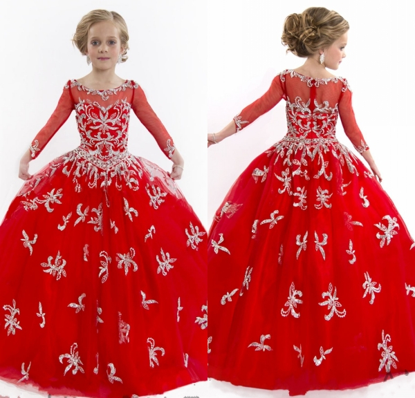 2015 Nectarean Red Flower Girl Dresses Long Sleeves Beaded Party Frocks for Kids Little Girls Evening Gowns Vestido Daminha(China (Mainland))