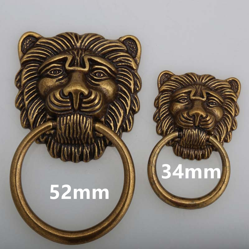 Classical drop rings drawer cabinet knobs pulls bronze Lionhead dresser handles vintage style furniture large meatball knobs(China (Mainland))