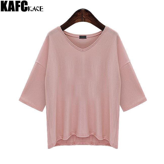 KAFAKACE 2016 Summer Cotton T-shirts Female women's Tops Fashion T-shirt Big Size t shirt Asymmetrical tshirt Tee V-Neck(China (Mainland))