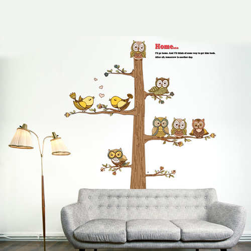 1 set 50*52 Inch Kids Bedroom Art Wall Decoration Cartoon Wall Stickers Owl Tree For Living Room Decor(China (Mainland))