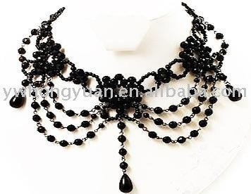 Gothic necklace Arched Victorian Style Burlesque Beaded Choker necklace with earring