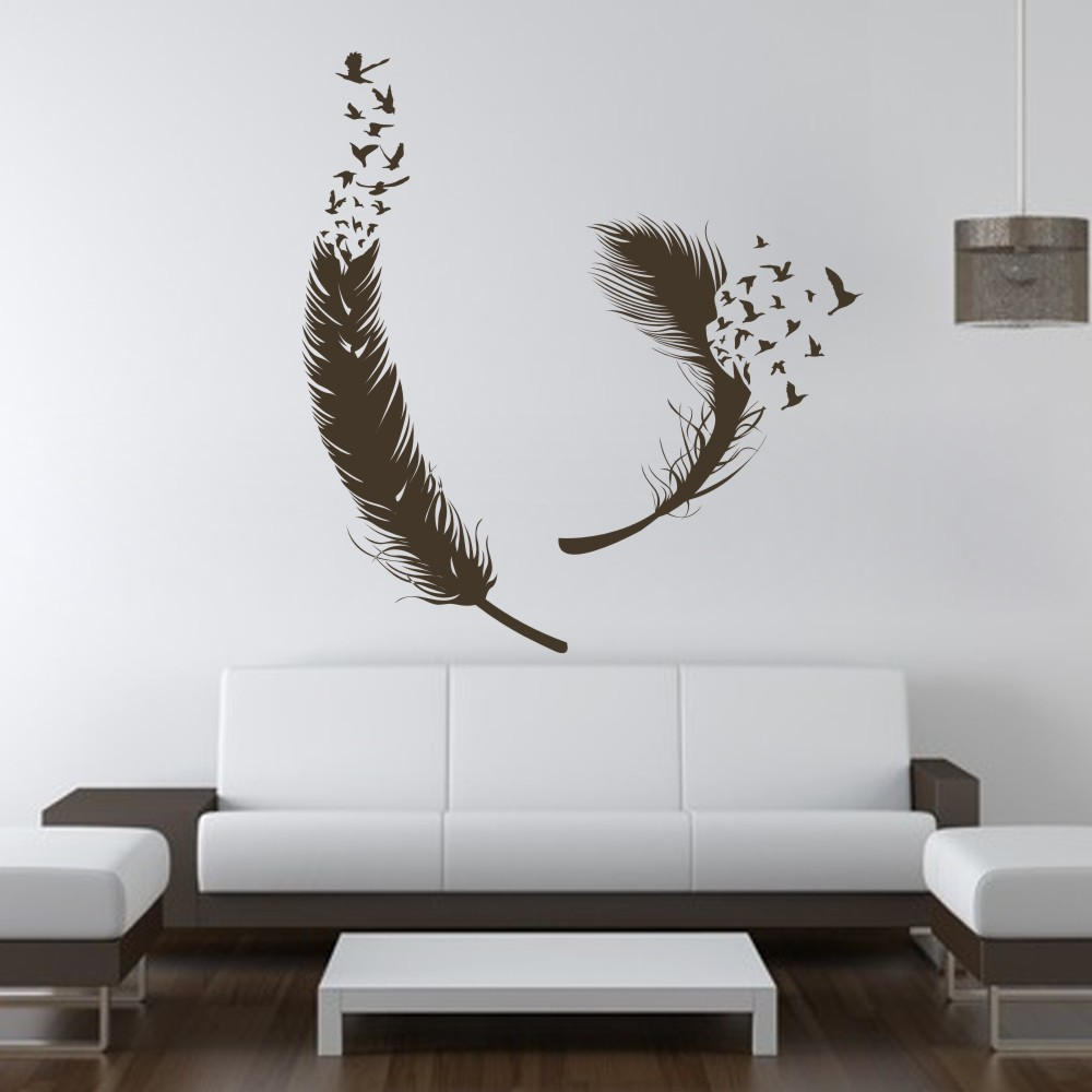 Birds of feather wall decals vinyl decal housewares art for Decor mural wall art