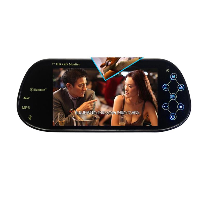 "7"" LCD Car Monitors 12V CCD Car Reverse Camera with Monitor Auto Parking Mirror Monitor Bluetooth MP5 USB SD(China (Mainland))"