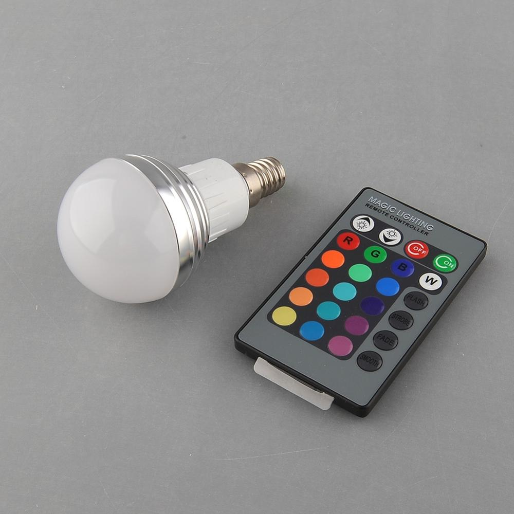 1 pcs E14 3W RGB 16 Color colors Change Magical Multi-Color Light Lamp house + Remote  free shipping(China (Mainland))