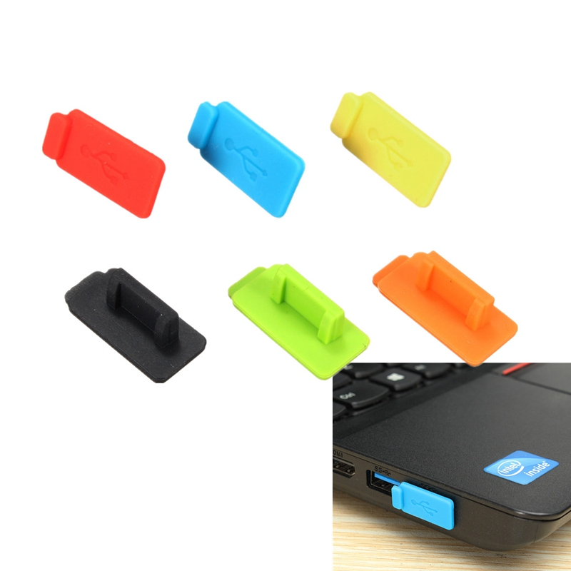 Best Price Colorful 6 Pcs Rubber Silicon Protective AntiI Dust USB Plug Cover Stopper For Computer Laptop Super Quality(China (Mainland))