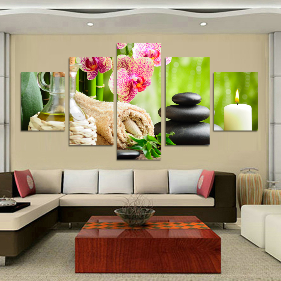 buy flower stone candle scenery picture printed painting modern canvas wall art home decor. Black Bedroom Furniture Sets. Home Design Ideas